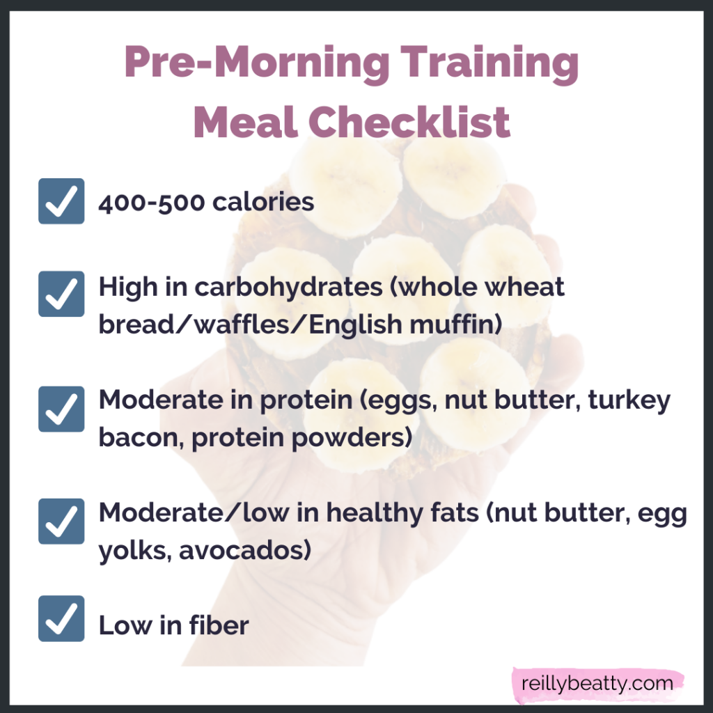 Pre-morning training meal checklist for soccer players