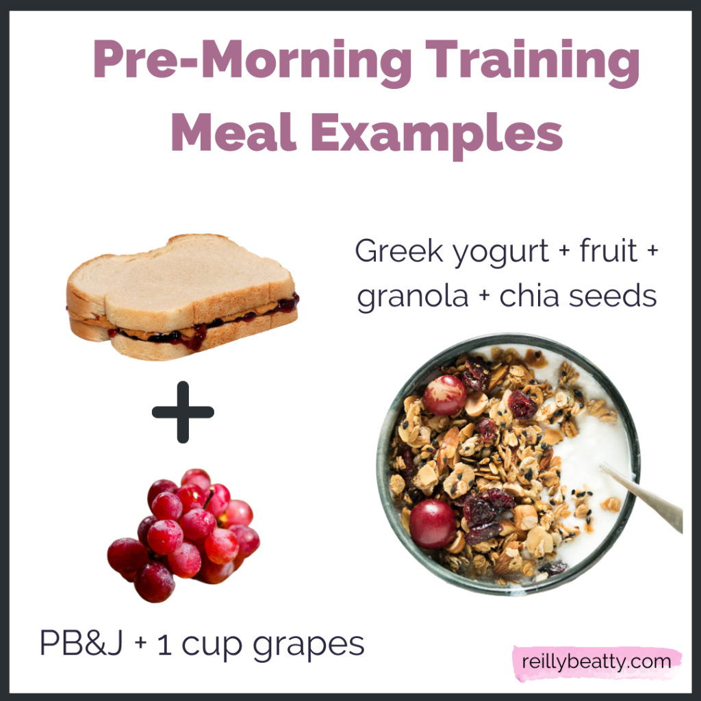 example of pre-morning trainign meals