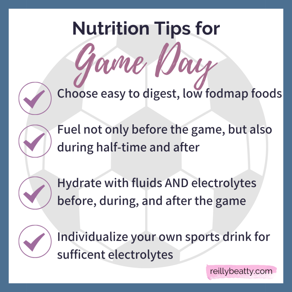 Nutrition tips for soccer players on game day