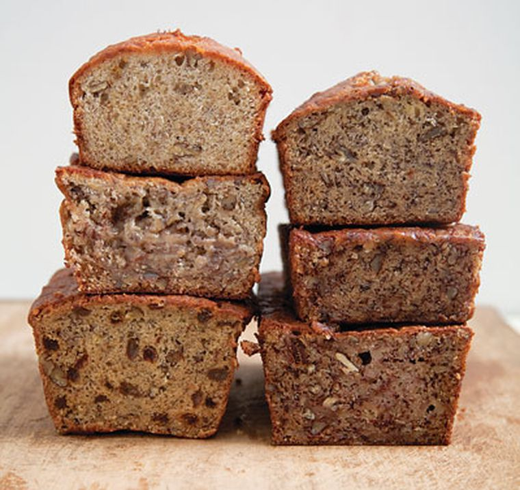 different dairy-free banana bread loaves