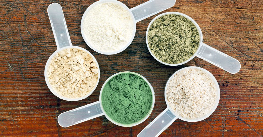 different types of plant and whey proteins